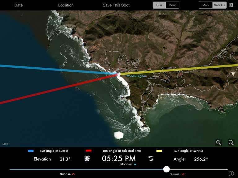 Track the angle of Sun or Moon at any location, any time.