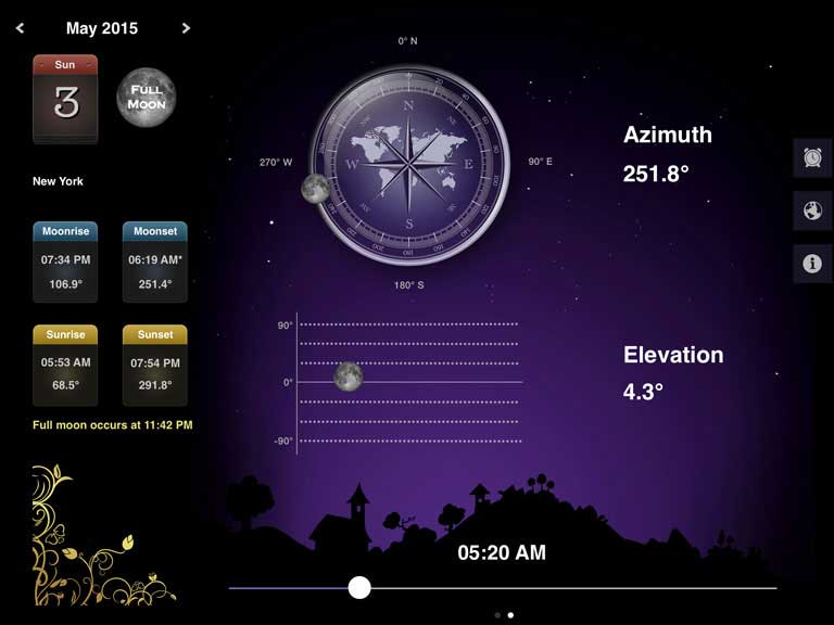 Find the exact angle and elevation of Moon at any time and any location.